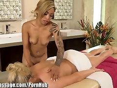 AllGirlMassage Honey Milani Massages Big Tit Blonde Lesbian