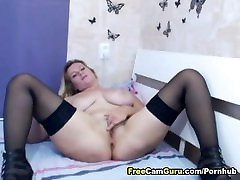 Huge Tits Blonde Finger Fucks her Tight Pussy