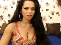 sexy brunette smokes and plays with toy