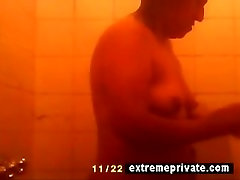 Hidden camera my showering BBW Mum 42 years