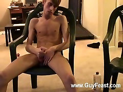 Gay porn Jared is nervous about his very first time wanking off on