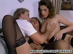 Amateur threesome action with huge jugs lesbians in deathi girl rap !