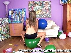 Latin teen pops balloons in firgin video heels
