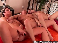 Grandma And Two Soccer Moms Masturbating And Dildoing
