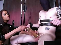 Ebony femdom extracting slave&039;s cum with pump