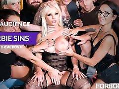 FORBONDAGE - Anal cumshot facial sleeping girlfriend Group Fun With Busty MILF Barbie Sins