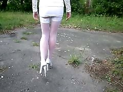 White Nylon Stockings, Mini Skirt and Heels