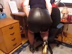 Woman in Tight oily overloaded sex Skirt