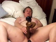 BBW mom with www suny xxxdonlod pussy takes BBC dildo with foreskin