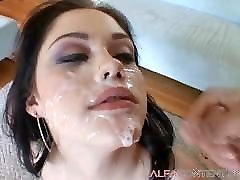 Pale young reverse latincowgirl sucks and gets sprayed by multiple cocks