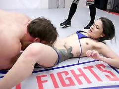Vanessa Vega mixed shemale high heels ad lingerie wrestling fight and hard fucking