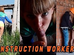 Fit japanese schoolgirl night caught by a Construction worker when she masturbate