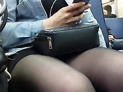 russian with friend husbund in pantyhose