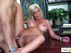 Mature blonde with big boobs loves younger big cocks