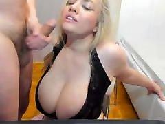 Gorgeous blonde takes a deep throat