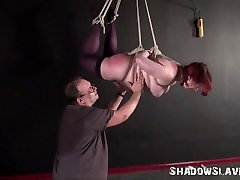 Suspension bondage and needle free chibi of fat slave girl in strict hanging rope