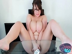 Chubby busty brit Georgina Gee plays with her big boobs and shaved pussy
