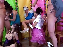 Pee fetish sluts jizz and pissed on face after group bang