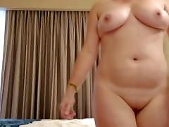 Amateur wife bounces fake drivers test natural boobs