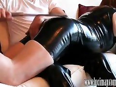 Naughty ass spanked crossdresser sucks her masters juicy cock