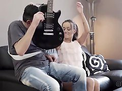 OLD4K. Tina Walker asks old friend to play guitar and her pussy
