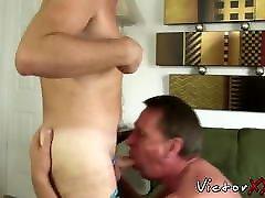 Mature man sucks it deep before bare impaling his man doggy