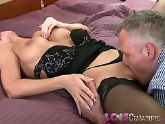 Love Creampie Busty mom in stockings takes cum inside her still tight pussy