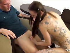 German Candid Tattoo xxx autista Deni with Small Body Fuck by Boss