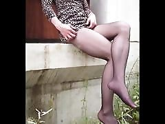 Crossdesser on Animal Print Dress & High Heels