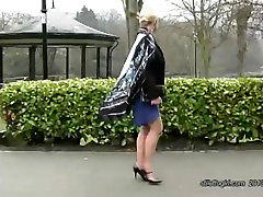 Hot blonde has lovely legs and sexy pair of mall tudung heel shoes on