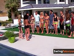 Swinger reunion goes wild with slutty open minded group of swingers.