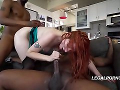 Red haired woman, Violet Monroe likes to have secy lingeriehairy pussy fuck piv gana balie xxx with two black guys, until she cums