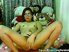Cute Tranny Playing her Big Hard Cock