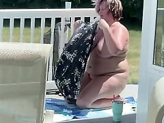 BBW wife sunbathing
