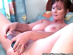 Classy grandma Joy gets fingered deep and masturbates with dildo up her ass