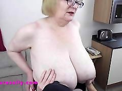 Cock and pussy play with big tits Mature Sally