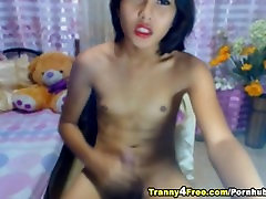 Tranny Jerks her Huge Dick and Cums