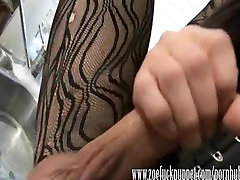 Crossdresser Zoe has a soapy wank in the kitchen with her 9 inch cock