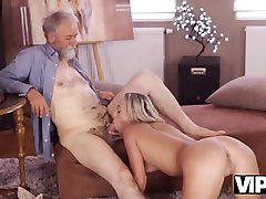 VIP4K. Dreams come true when lovely girl takes old dick in mouth
