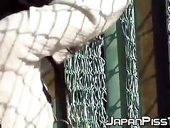 Cute Japanese schoolgirl tied to fence pees herself so much