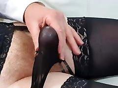 Crossdresser cums in lingerie after panty play
