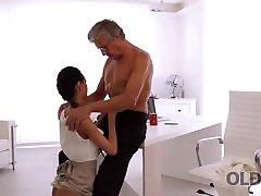OLD4K. Long-legged brunette gives herself to brutally beaten handsome boss