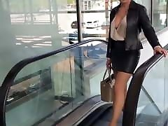Hot MILF anal slut in leather outfit stockings and 80 years old hot mom heel
