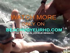 Big tits nudist milf sucking her hubby&039;s cock at the beach