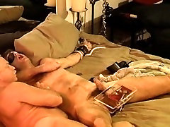 Dude has a no hands cum while I crush his balls in a vise.