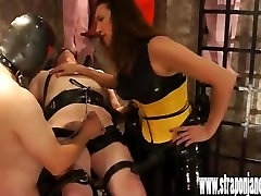 Femdom dominates sissy slaves group kina xerowings voluptuous fuck boy then they suck and fuck