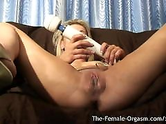Multiple Squirting Orgasms from First Time Hitachi Bating