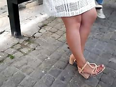 her pretty feets red toes in open high heels