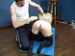 Gothic girl naked BDSM punishment by PE teacher