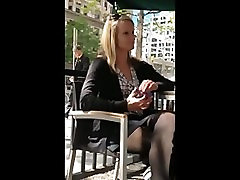 Candid Sexy Blonde in Black Nylons in Cafe